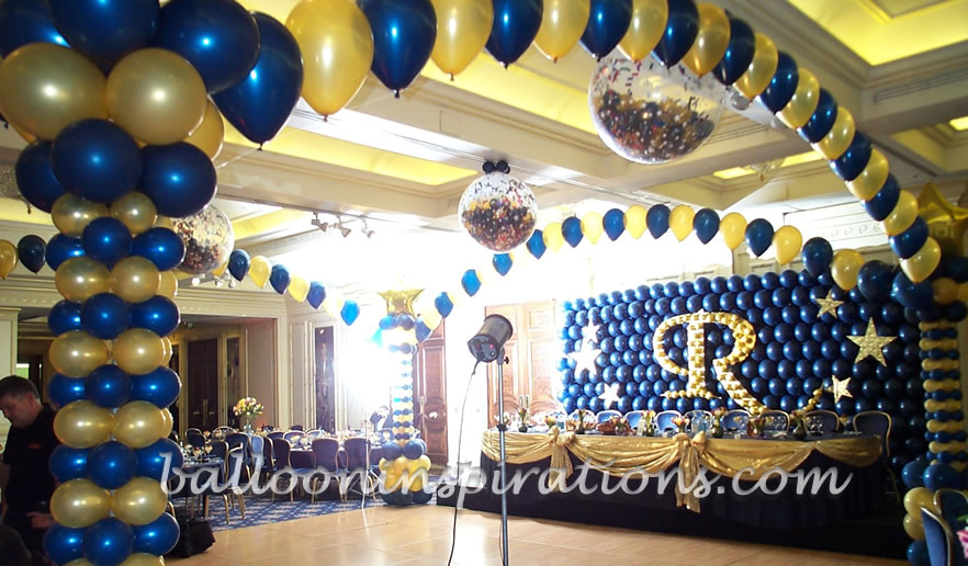 balloon decorating ideas ceiling - Bar Mitzvah celebration decorations featuring large